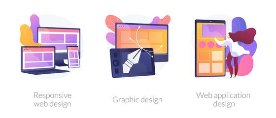 Wall Mural - Adaptive programming icons set. Multi device development, software engineering. Responsive web design, graphic design, web application design metaphors. Vector isolated concept metaphor illustrations