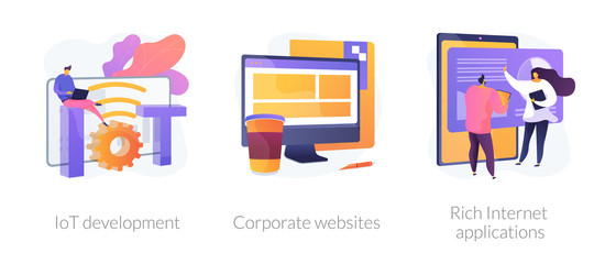 Wall Mural - Online technologies icons set. Smart network, company site, successful app. IoT development, corporate websites, rich Internet applications metaphors. Vector isolated concept metaphor illustrations