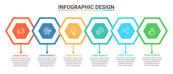 Infographic Template Hexagon Design Options and Steps Progress Bussines Vector Wall mural