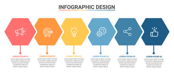 Infographic Template Hexagon Design Options and Steps Progress Bussines Vector