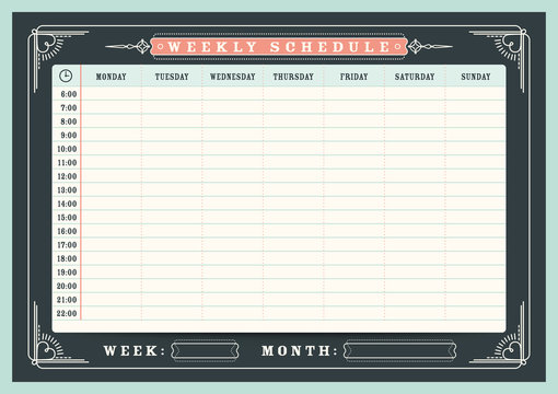 Weekly schedule planner template with vintage frame border, A4 size