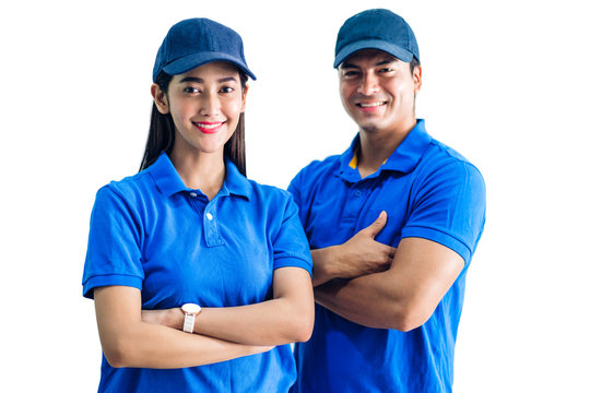 Portrait of smiling deliveryman and woman with crossed arms  in blue uniform isolated on white background