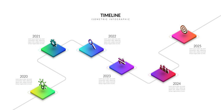 Isometric timeline business infographic, Colorful graphic elements