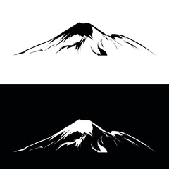 mountain black and white vector