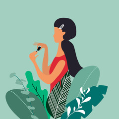 A young pretty woman or girl painting nails in big plants. Design concept for cosmetics, beauty salon and spa.Manucure or nail studio poster. Vector illustration.