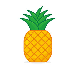Pineapple vector illustration isolated on white background. Pineapple clip art
