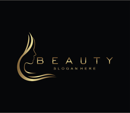 Beauty logo salon and hair treatment logo design template