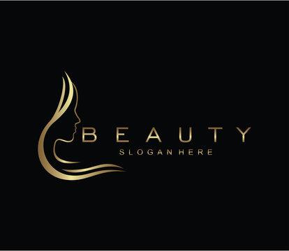 Beauty logo salon and hair treatment logo design template