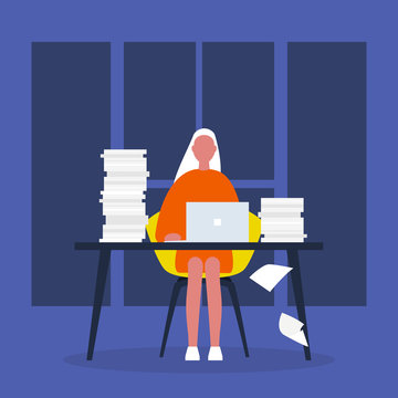 Late night work at the office. Bureaucracy. Document flow. Young female character working on a laptop surrounded by stacks of paper. Flat editable vector illustration, clip art