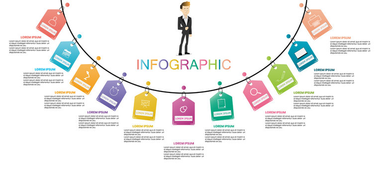 business infographic timeline design template and steps for shopping with icons and 11 steps. Can be used for workflow layouts, diagrams, annual reports, web design.