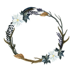 Wreath for halloween isolated on a white background. Watercolor illustration with skull and flowers. Suitable for cards, invitations, holidays, etc.