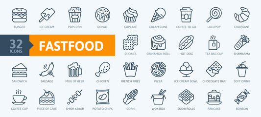 Fototapeta Fastfood - outline web icon set, vector, thin line icons collection obraz