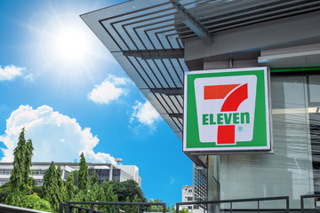 7-11 or seven eleven 24 hours convenience store franchise logo at front entrance,6 April 2019, Bangkok, Thailand.