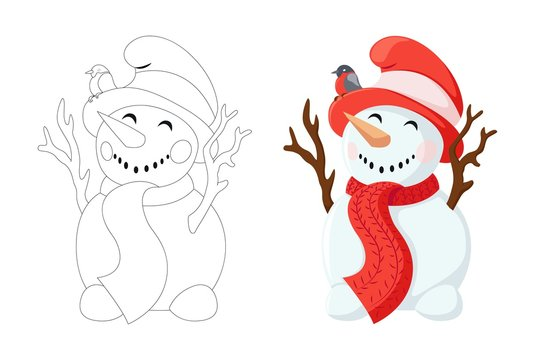 Funny snowman with a carrot instead of a nose and branches instead of hands