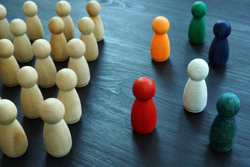 Diversity and Inclusion concept. Wooden and colored figurines.