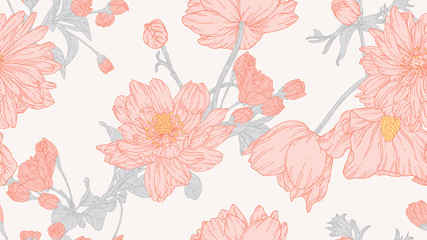 Floral seamless pattern, anemone and sakura flowers with leaves in light red line art ink drawing on light grey