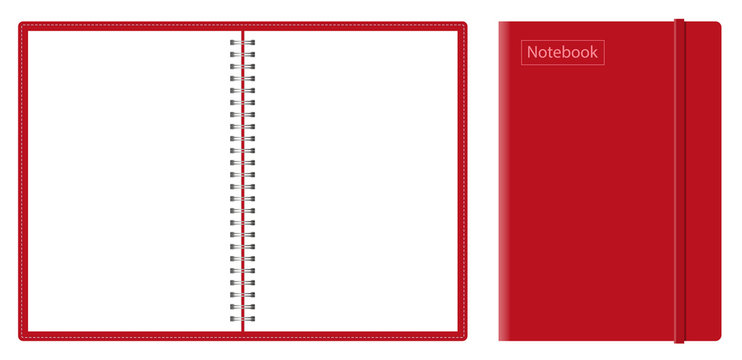 Vector realistic mock-up notepad. spiral for notebooks. closed and open notebook with blank sheets. silver spirals notebook, top view.