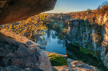 Fotobehang Blauwe hemel Amazing river canyon in autumn.