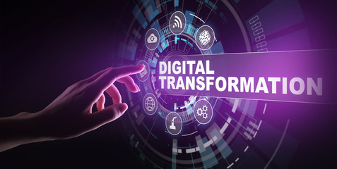Wall Mural - Digital transformation, disruption, innovation. Business and modern technology concept.