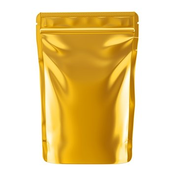 Golden blank foil food pack stand up pouch bag packaging with zipper mock up, 3d illustration