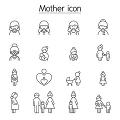 Mother icon set in thin line style