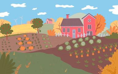 Autumn farm landscape. Field crops, nature, harvest season.