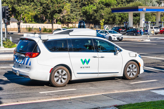 Sep 14, 2019 Mountain View / CA / USA - Waymo self driving car performing tests on a street near Google's offices, Silicon Valley; Waymo, a subsidiary of Alphabet, is developing an autonomous car