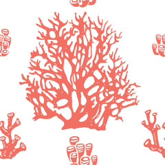 Coral seamless pattern. Living coral