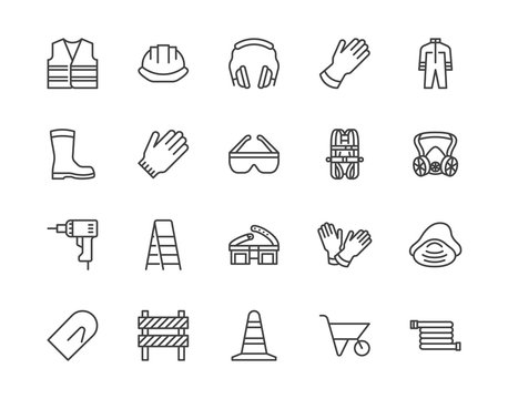 Safety equipment, required PPE flat line icons set. Protective gloves builder helmet respirator, harness vector illustrations. Outline signs personal protection. Pixel perfect 64x64. Editable Strokes
