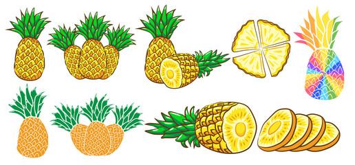 pineapple vector set clipart design