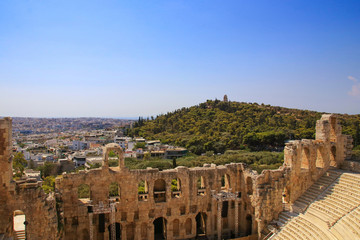 View from the Acropolis of Athens to the city and Philopappos Monument at Filopappou Hill, Greece