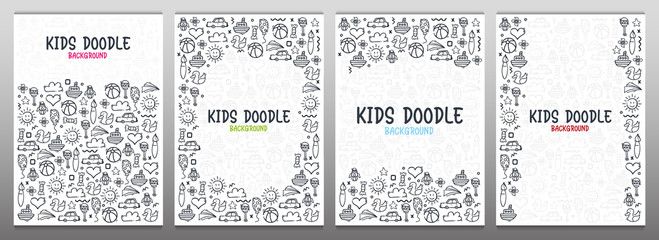 Set of Hand draw Kids doodle backgrounds. Objects from a child's life. Fotobehang