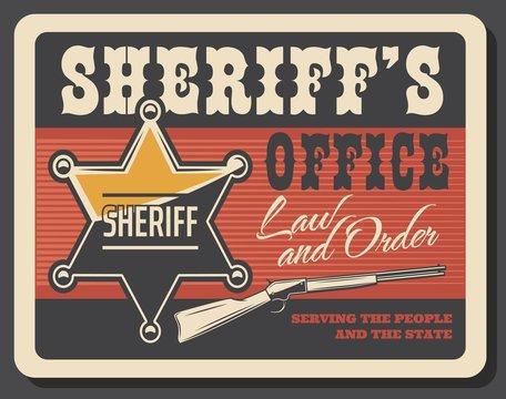 Western sheriff badge and gun