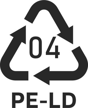 Linear Low-density Polyethylene 04 PE-LD Icon Symbol
