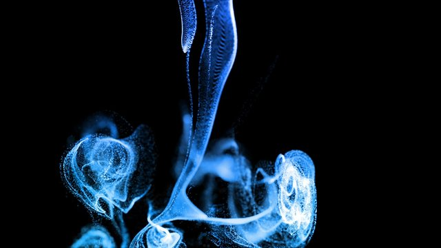 3d render blue luminous particles in a fluid stream in slow motion. The effect is similar to ink in water. Advection glow particles in 4k