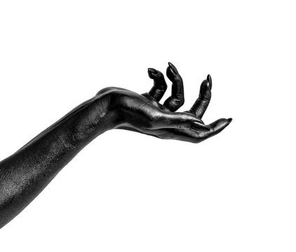 Black painted hands with long nails isolated on white background