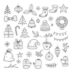 Winter holiday doodle set. Sketch christmas gift boxes, santa hats, and fir-trees, xmas garland. Vector isolated collection xmas holiday doodle, gift christmas illustration
