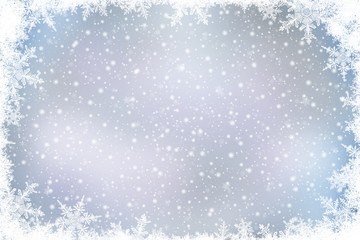 Decorative Christmas background with bokeh lights and snowflakes.