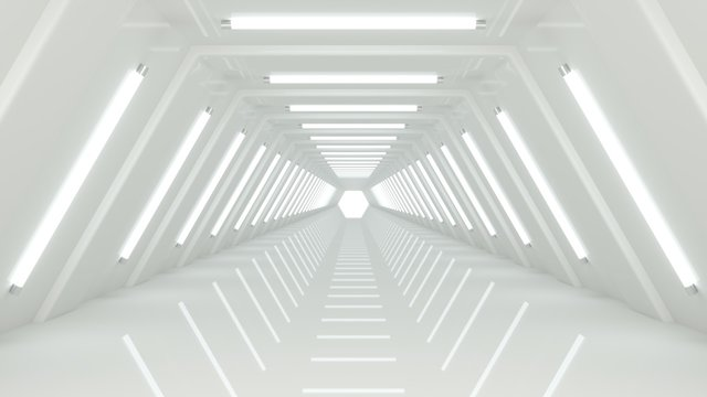 Abstract modern minimalist empty white corridor tunnel, illuminated with white glow lights. Empty space for text, interior design or science fiction background 3D rendering.