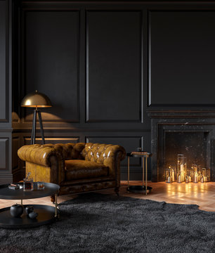 Black classic interior with armchair, moldings, fireplace, candle, floor lamp, carpet and table. 3d render illustration mockup.