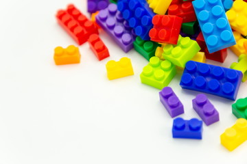 cube toy brick blocks on white background .