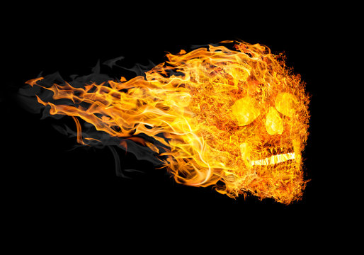 fire skull with tail in flame on black