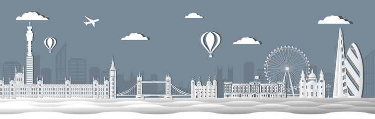 Panorama of world famous landmarks of London, England in paper cut style vector illustration. London city buildings silhouette. English urban landscape. London cityscape with landmarks.