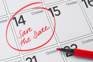 Save the Date written on a calendar - October 14