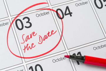 Save the Date written on a calendar - October 3