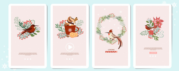 Set of Mobile App Page with Christmas plant, Christmas wreath, floral, spices and birds. Editable vector illustration.