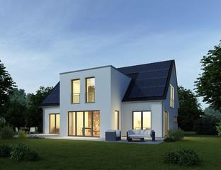Haus modern am Abend