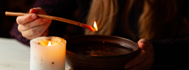 Magic divination by wax on the water, ritual. Psychic vision, fortune teller.