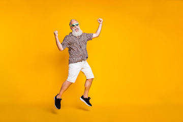 Full length photo of funny funky lucky old bearded man in green eyewear eyeglasses raise fists...