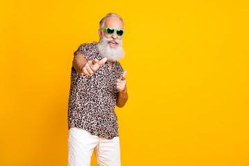 Portrait of crazy retired funny long bearded old man in eyewear eyeglasses brand feel crazy modern...